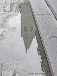 St. Louis Cathedral steeple reflection