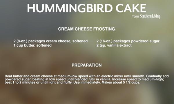 Hummingbird Cake Icing