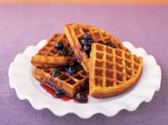 sweet potatoe waffles blueberry syrup